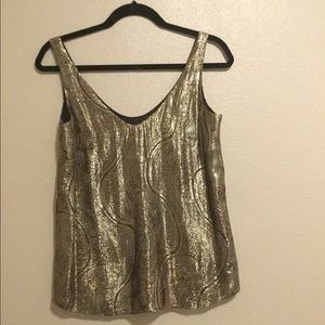 J Crew gold lacquer shiny tank top